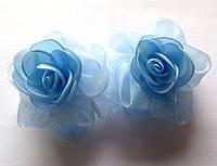 Банты школьные ручной работы, голубые розы