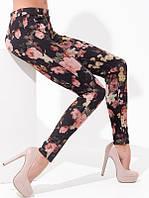 Леггинсы L9017 Legs (Италия), черные лосины с цветочным принтом
