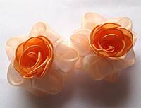 Банты школьные ручной работы, персиковая роза