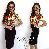 Женская красивая блуза с цветочками (2 цвета)
