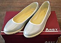 Стильные женские балетки из натуральной кожи ARBI цвета серебро