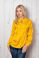 Стильная шелковая блуза горчичного цвета