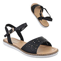 Красивые сандалии на застежке сперфорацией и стразами черного цвета