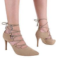 Босоножки на высоком каблуке на шнуровке бежевого цвета