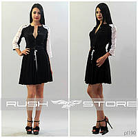 Стильное платье-рубашка с гипюром