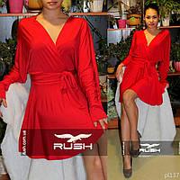 Стильное платье с запахом и декольте на спине
