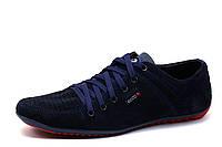Туфли спортивные Moccasins, мужские, замша, перфорированная, темно-синие, р. 40, фото 1