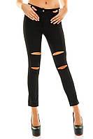 Женские модные брюки с порезами (коттон )