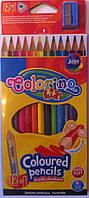 Карандаши цветные 12 цветов треугольные с точилкой 54706PTR Colorino Польш
