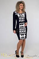 Стильное стройнящее платье микромасло трикотаж-принт (пенка) большого размера 48-54
