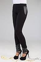 Модные лосины брюки из плотного брючного трикотажа со вставками из тесненной кожи большого размера 48-52