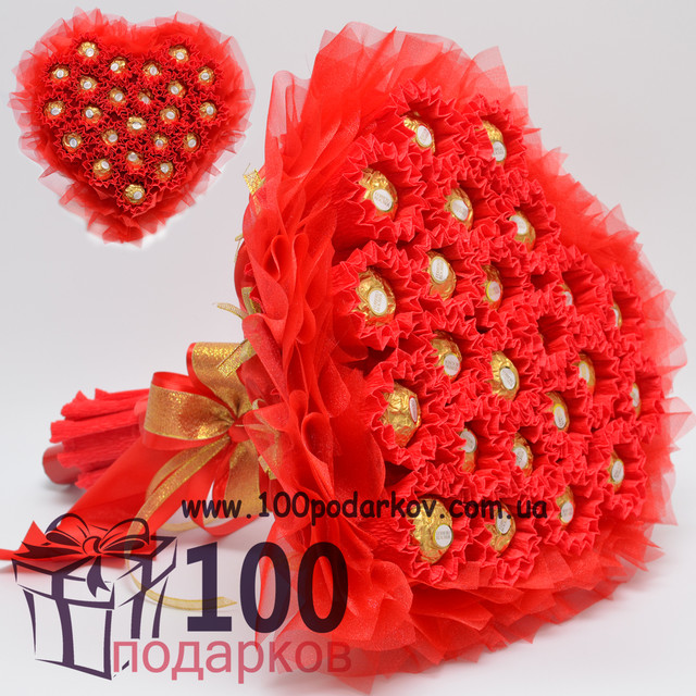 Сердца из конфет