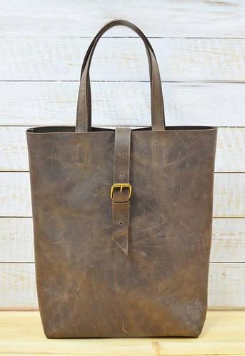 Модная женская сумка из натуральной кожи TOTE GBAGS B014 коричневый