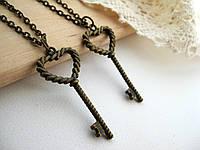 Парные кулоны «Ключи от сердец», парные кулоны для влюбленных, подвески для двоих, сердечки для пары