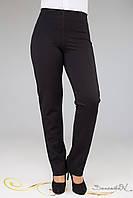 Модные прямые брюки из турецкого трикотажа с декоративными вставками по боках большого размера 50-60