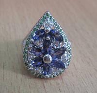 """Потрясающее кольцо с иолитами, цаворитами и топазами """"Райский сад"""", размер 16,92 от студии LadyStyle.Biz"""