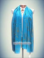 Шелковый шарф Eda exclusive, бирюза (100% rayon) принт 2016 Турция