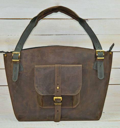 Вместительная женская сумка из натуральной кожи GBAGS B.0003-CH коричневый