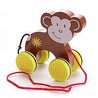 Деревянная игрушка обезьяна на колесах IE174
