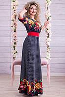 Платье в Пол Принтованое Короткий Рукав Красные Цветы р. M-XXL