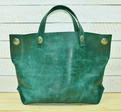 Легкая женская сумка-мешок из натуральной кожи GBAGS B.0004-ALI изумрудный