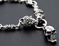 Серебряная мужская цепочка Львы колье черепами