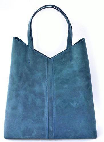 Интересная женская сумка-пакет из натуральной кожи GBAGS B.0005-СН синий