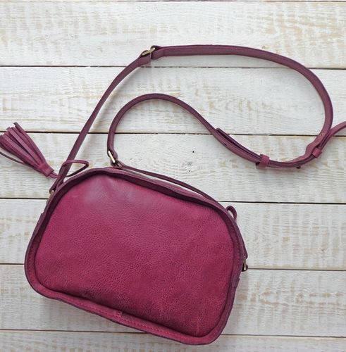 Прекрасная женская сумка из натуральной кожи GBAGS B.0006-ALI баклажан