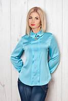 Стильная шелковая блуза нежно голубого цвета