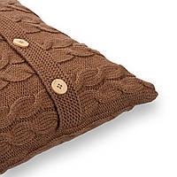 Подушка декоративная Ohaina вязаная в косы  40х40  цвет шоколад