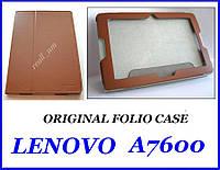 Коричневый оригинальный кожаный чехол-книжка Folio Case для планшета Lenovo A7600