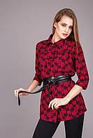 Летняя удлиненная блуза-рубашка красный