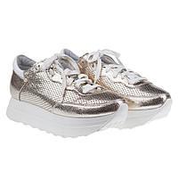 Комфортные кроссовки от SELESTA (модные, кожаные, золотистого цвета, весна-лето)