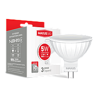 Светодиодная LED лампа MAXUS точечная MR16  5W мягкий свет 220V