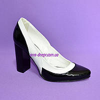 Женские лаковые туфли-лодочки на высоком каблуке, цвет черно-белые