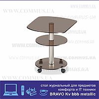 Журнальный столик из стекла Браво KV bbb/met(500x500x520)