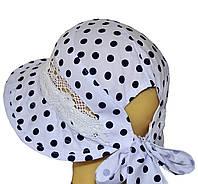 Детская шляпка Лиза кружева синие горохи