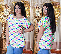 Женская футболка - туника батал Сердечки № ат 3235.2 гл