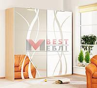 Шкаф-купе Ф-2226 (2-х дверный 1,8м фасад зеркало с рисунком) серии Хай-тек