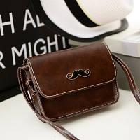 Маленькая женская сумка клатч Усы коричневая