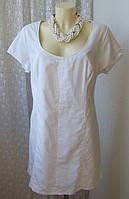 Платье женское летнее легкое белое лен хлопок батал мини р 56 6479 от Chek-Anka