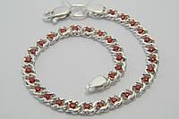 Браслет женский из серебра 925 с красными цирконами