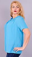 Весна. Блузка легкая женская супер батал. Голубой., фото 1