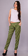 Мирра. Молодёжные брюки женские большого размера. Хаки.(Р)., фото 1