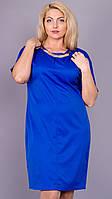 Дюна. Элегантное женское платье большого размера. Электрик., фото 1