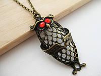 Бронзовый кулон сова с красными глазами