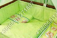 Защита бортик в детскую кроватку для новорожденных (мишка в круге салатовый)