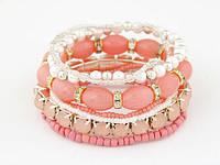 Многослойный розовый браслет Богемия из бусин горного хрусталя