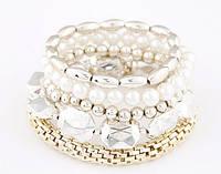 Уникальное ювелирное изделие многослойный белый браслет из металла золота, перл, бусин