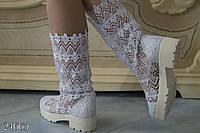 Стильные женские летние сапоги макраме каблук